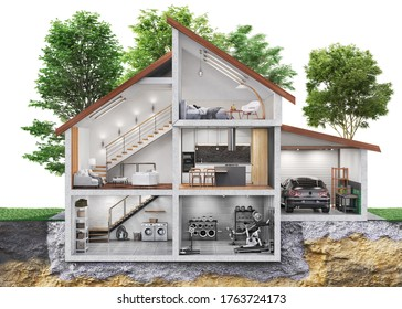 Sliced house  among a garden with many trees and internal content  in front view. 3d illustration