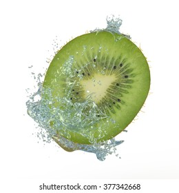 Sliced kiwi splashing into water