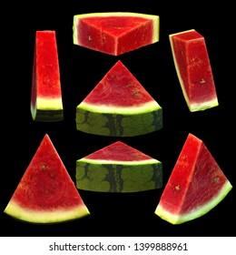 Sliced watermelon fruit black background multiple angles 3d render