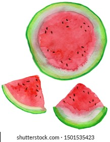 Sliced watermelon painted by watercolor on the white background