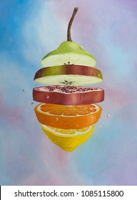 Slices of different fruits layered to form a deliciously surreal single entity