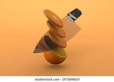 Slicing orange fruit with knife on orange background, a summer fruit cocept. 3d render