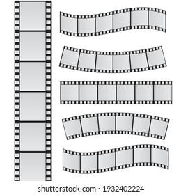 Slide film frame set. Film reel and roll 35mm