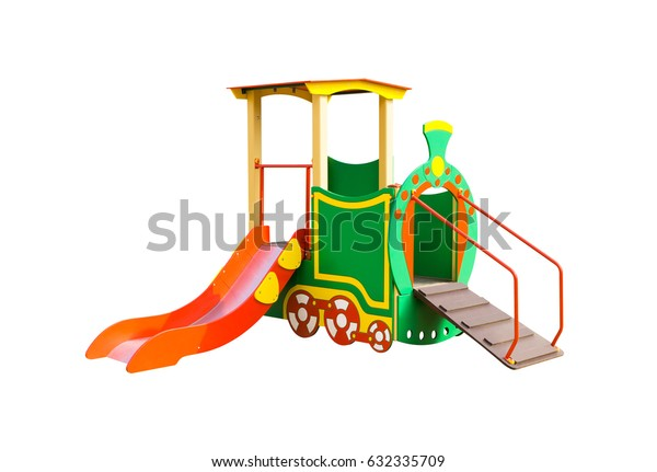 Slide in form of train for playground isolated on white background.3D illustration