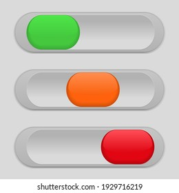 Slider power switches isolated on a gray background