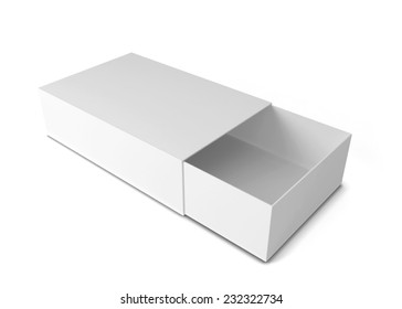 Sliding box. 3d illustration isolated on white background