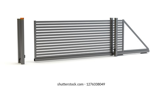 Sliding gate, 3D illustration