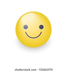 Slightly cartoon smiling yellow face. Smiling fun emoticon with happy mood. Glad smile icon for applications and chat. Joy emotion.