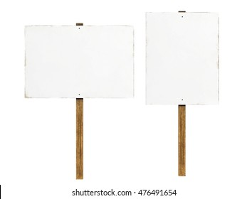 Slightly grungy and worn protest signs isolated on a white background. 3D Illustration.