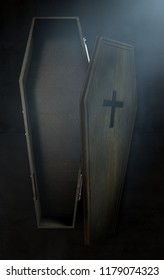 A slightly open empty wooden coffin with a metal crucifix and handles on a dark ominous background - 3D Render