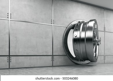 Slightly open vault door in gray wall. Concept of safe keeping of money and valuables. 3d rendering.