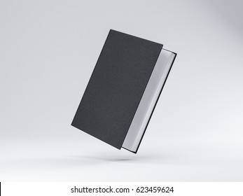 Slightly opened Black Book Mockup with hard textured cover, white pages, 3d rendering