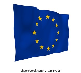 Slightly waving flag of the European Union isolated on white background, 3D rendering. Symbol of Europe. 3D illustration
