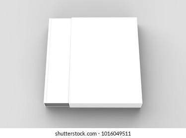 Slipcase book mock up isolated on soft gray background. 3D illustrating