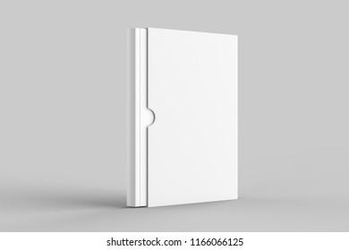 Slipcase book mock up isolated on soft gray background. 3D illustration.