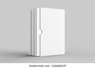 Slipcase book mock up isolated on soft gray background. 3D illustration.