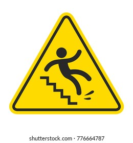 Slippery stairs warning. Yellow triangle symbol with stick figure man falling on stairs. Workplace safety and injury illustration.