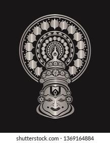 Sliver color kathakali face with black background image/ kathakali dancer image