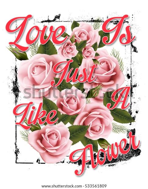 Slogan with flower illustration art on white background