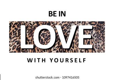 slogan graphic with animal skin