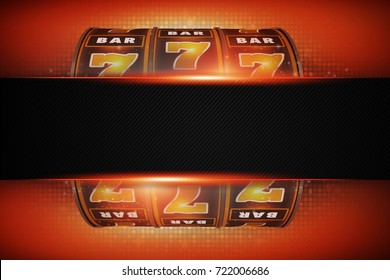 Slot Machine Concept with Copy Space. 3D Rendered Illustration. Casino Gambling Theme.