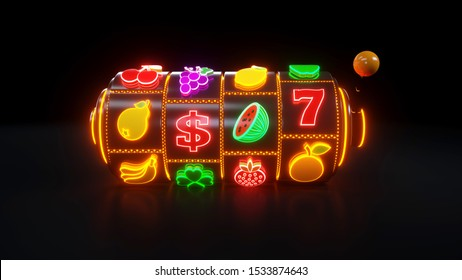 Slot Machine With Fruit Icons. Casino Gambling Concept With Neon Lights - 3D Illustration