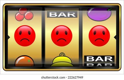 Slot machine, gambling illustration, looser