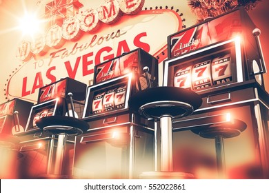 Slot Machine Games in Las Vegas Concept. Vegas Gambling 3D Render Illustration. Row of Slots Machines and Vegas Sign in the Background.