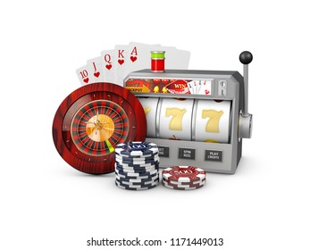 Slot machine with jackpot, Casino concept, 3d Illustration of Casino Games Elements.