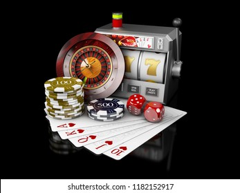 Slot machine with jackpot, Casino concept, 3d Illustration of Casino Games Elements