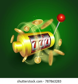 Slot machine lucky sevens jackpot concept 777. casino game. Slot machine with money coins.