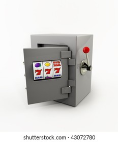 slot machine opening door of the safe