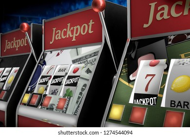 slot machine paying jackpot in online casino - 3d rendering