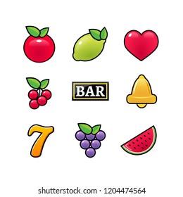 Slot machine symbols icons set. Casino gambling slot machine icons of fruit lemon seven bell .