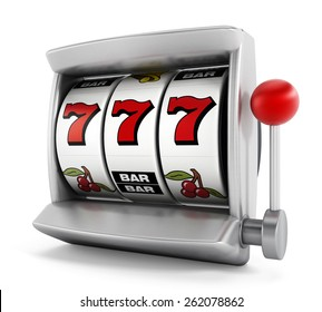 Slot machine with three seven's isolated on white background