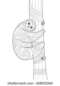 Sloth on a branch coloring book for adults raster illustration. Anti-stress coloring for adult. Zentangle style. Black and white lines. Lace pattern