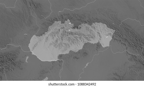 Slovakia area on the grayscale elevation map in the stereographic projection - raw composition of raster layers