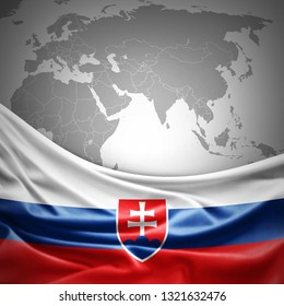 Slovakia flag of silk with copyspace for your text or images and world map background -3D illustration