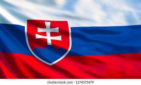 Slovakia flag. Waving flag of Slovakia 3d illustration. Bratislava