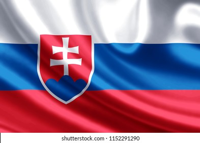 Slovakia waving and closeup flag illustration. Perfect for background or texture purposes.