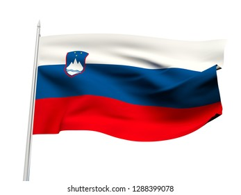 Slovenia flag floating in the wind with a White sky background. 3D illustration.
