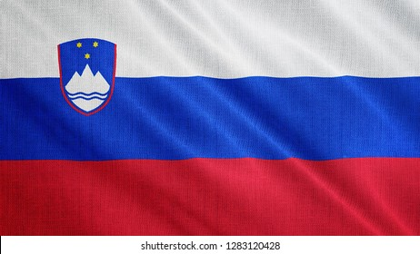 Slovenia flag is waving 3D illustration. Symbol of Slovenian's national on fabric cloth 3D rendering in full perspective.
