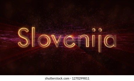 Slovenia in local language Slovenija - Shiny rays on edge of country name text over a background with swirling and flowing stars