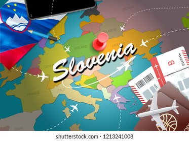 Slovenia travel concept map background with planes,tickets. Visit Slovenia travel and tourism destination concept. Slovenia flag on map. Planes and flights to Slovenian holidays to Ljubljana,Maribor