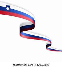 Slovenian flag wavy abstract background layout. Raster version.