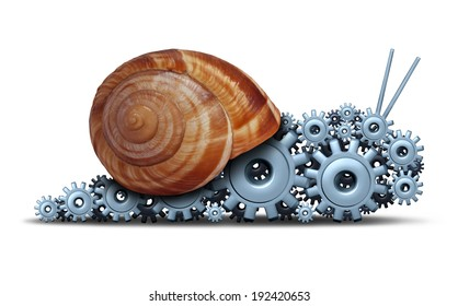 Slow Business concept as a snail shaped as a group of gears and cogs as a financial motor metaphor for sluggish progress technology and delays or economic engine progress on a white background.