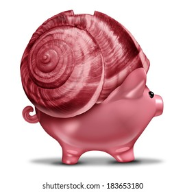 Slow investment and conservative investing business concept as a snail shell on a piggy bank symbol as a financial metaphor for risk tolerance managing budget savings or sluggish economic recovery.