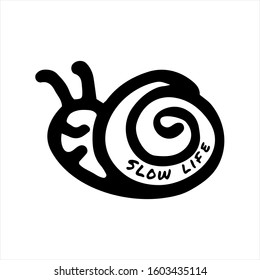 Slow life concept. Hand drawn banner. Snail icon with text Slow life
