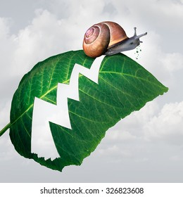 Slow profit growth business concept as a snail creating a hole shaped as a financial arrow chart in a leaf by eating the plant as a metaphor for economic stagnation and slowdown.