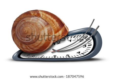 Slow service concept as a time clock with a shell shaped as a snail  as a metaphor for procrastination and leisurely customer service or being tired and sleepy symbol on a white background.